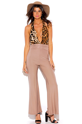 $10 - Cute cheap nude beige gold faux leather trim high waisted straight leg pants - leopard animal print deep v neck backless beige wide leg evening sexy party jumpsuit