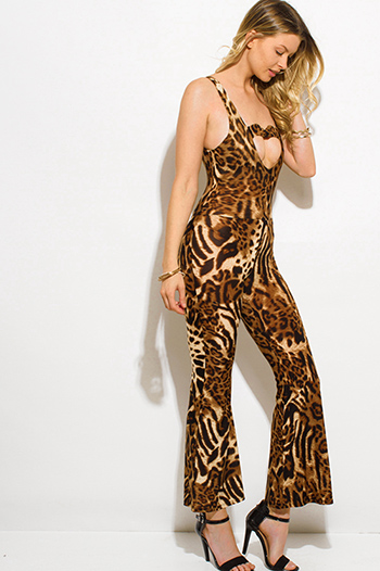 $8 - Cute cheap satin pocketed evening jumpsuit - leopard animal print cut out heart backless wide leg sexy party jumpsuit