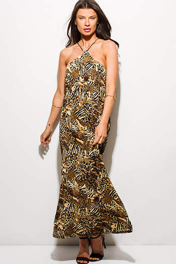 $20 - Cute cheap print wrap dress - leopard animal print halter neck criss cross back maxi sun dress