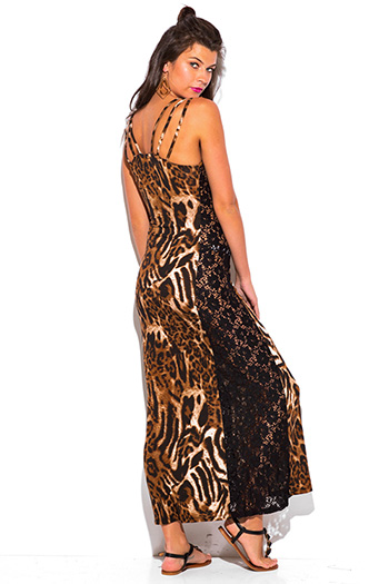 $10 - Cute cheap crepe slit sun dress - leopard animal print see through lace side fitted maxi sun dress