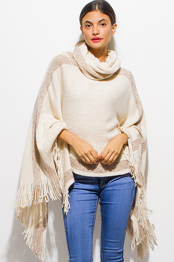 $35 - Cute cheap cream beige floral print long sleeve sheer lace panel thermal knit boho tunic top - light beige color block metallic lurex fringe trim cowl neck sweater knit boho poncho tunic top