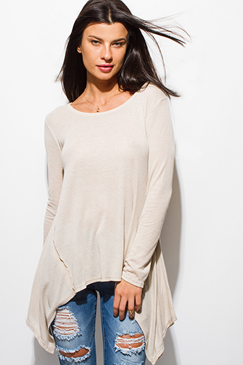 $15 - Cute cheap long sleeve catsuit - light beige long sleeve asymmetrical hem thermal knit top