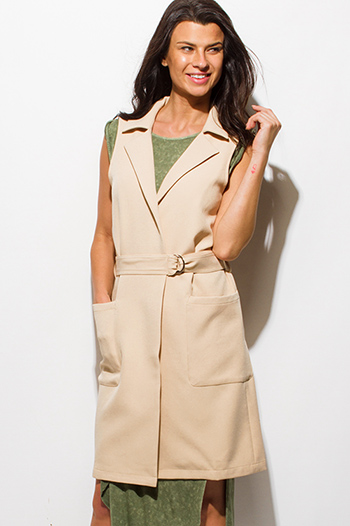 $25 - Cute cheap interview outfits - light beige sleeveless belted pocketed duster trench coat vest open jacket