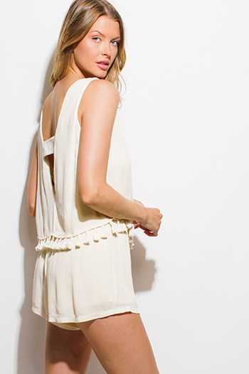 $15 - Cute cheap wide leg cut out open back jumpsuit - light beige sleeveless tiered tassel fringe trim cut out back boho romper playsuit jumpsuit