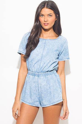 $15 - Cute cheap dark blue washed cotton blend pocketed waisted tie boho lounge shorts - light blue acid washed chambray short sleeve denim boho romper playsuit jumpsuit