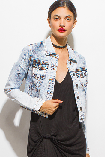 $20 - Cute cheap light blue acid washed distressed denim long sleeve button up jean jacket
