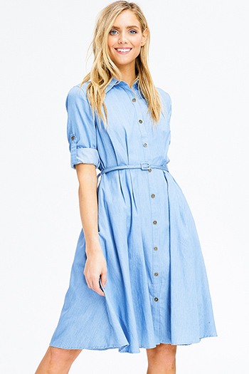 $15 - Cute cheap floral caged mini dress - light blue chambray belted pocketed button up a line boho midi shirt dress