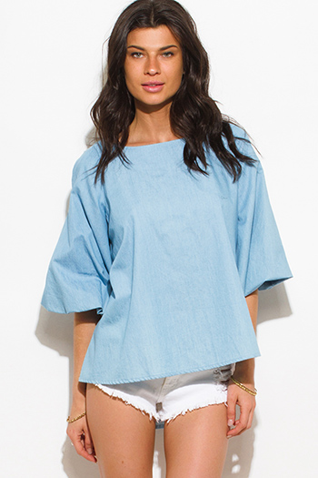 $15 - Cute cheap boho fringe tank top - light blue chambray denim boxy bubble sleeve boho blouse top