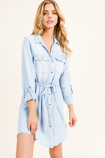 $25 - Cute cheap light pink satin floral off shoulder ruffle tiered boho mini sun dress - Light blue chambray long sleeve button up drawstring belted boho shirt dress