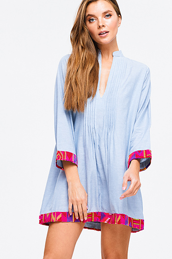 $20 - Cute cheap olive green tie dye cuffed short sleeve asymmetrical hem tunic boho mini sun dress - Light blue chambray long sleeve indian collar embroidery trim boho resert mini dress