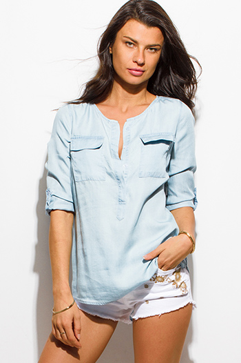 $15 - Cute cheap light blue white stripe print quarter sleeve button up pocket front blouse top - light blue chambray quarter sleeve button up boho blouse top