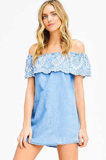 $20 - Cute cheap off shoulder boho romper - light blue chambray ruffle tiered embroidered off shoulder boho mini sun dress