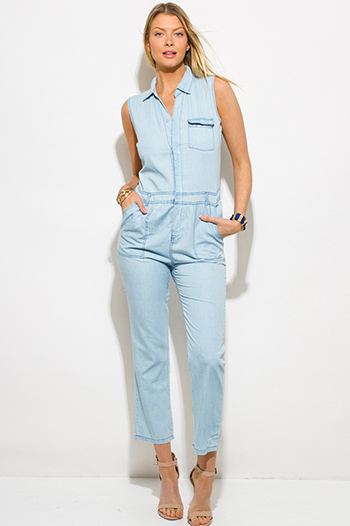 $20 - Cute cheap gray jumpsuit - light blue chambray sleeveless button up pocketed utilitarian jumpsuit