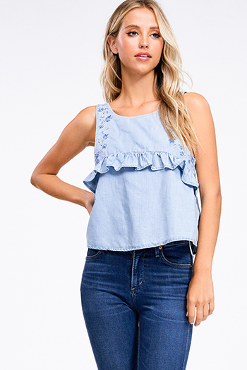 $12 - Cute cheap light blue washed denim high waisted wide leg crop boho culotte jeans - light blue chambray sleeveless embroidered ruffled boho top