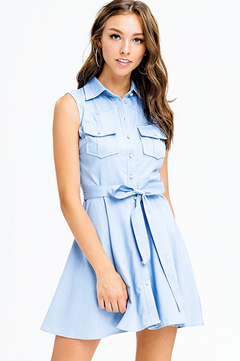 $20 - Cute cheap print backless fitted dress - light blue chambray sleeveless faux pearl button up tie waist mini skater shirt dress
