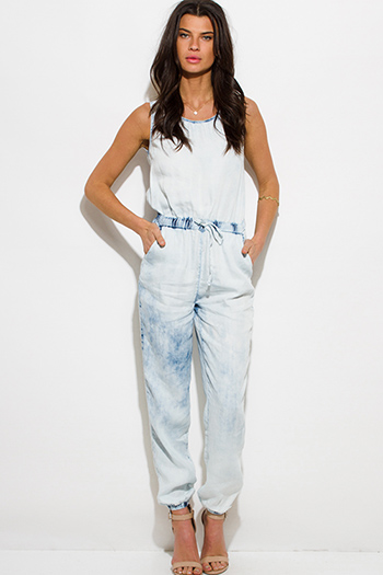 $25 - Cute cheap khaki tan tencel pocketed buttoned waisted tie lounge cargo shorts - light blue chambray tie dye acid washed denim pocketed lounge harem jumpsuit