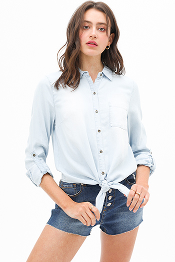 $27 - Cute cheap blue washed denim high rise waisted distressedpin hem detail skinny jeans - Light blue chambray tie hem button up boho denim blouse top