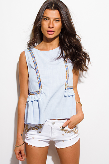 $15 - Cute cheap v neck fringe top - light blue cotton linen blend embroidered tassel fringe sleeveless boxy boho top