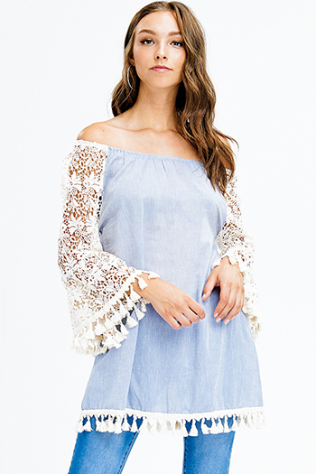 $20 - Cute cheap blue washed denim mid rise distressed ripped knee frayed hem fitted ankle skinny jeans - light blue cotton off shoulder long crochet bell sleeve tassel fringe hem boho tunic mini dress