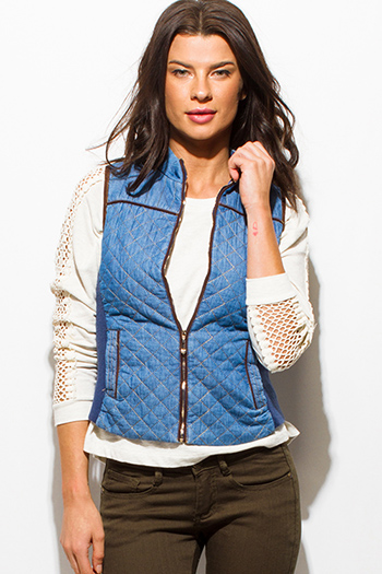 $15 - Cute cheap black zip up stripe banded crop bomber jacket - light blue denim zip up quilted puffer fitted jean vest top