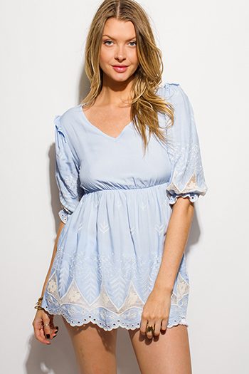 $15 - Cute cheap print slit boho tunic - light blue emboirdered empire waist scallop hem half bubble sleeve sheer lace back boho tunic top