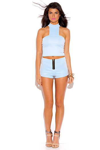 $7 - Cute cheap light pink sheer lace high neck backless mini dress.html - light blue exposed zip high waisted sexy clubbing mini shorts