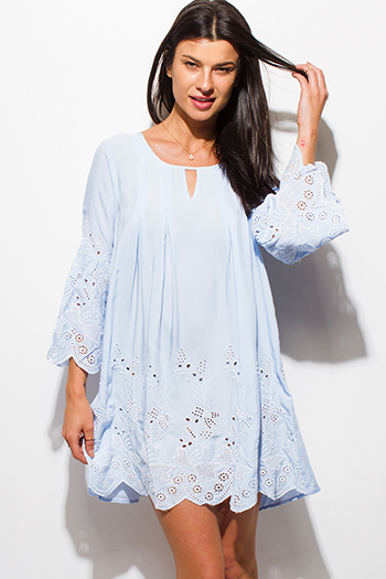 $15 - Cute cheap blue chiffon backless dress - light blue eyelet embroidered long sleeve scallop hem boho shift mini swing dress