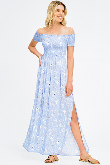 $20 - Cute cheap babydoll cocktail midi dress - light blue floral print smocked off shoulder short sleeve side slit boho evening maxi sun dress