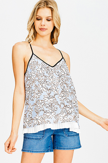 $15 - Cute cheap print open back jumpsuit - light blue floral print v neck layered pleated racer back resort boho tank top