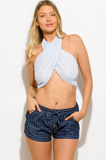 $10 - Cute cheap silver top - light blue halter wrap sexy clubbing crop top