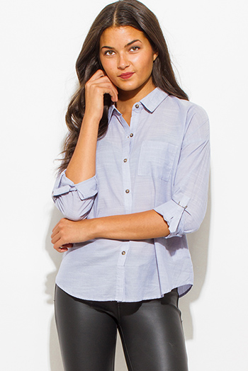 $15 - Cute cheap asymmetrical blouse - light blue pocketed quarter sleeve button up blouse top