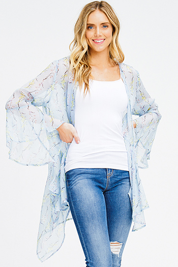 $15 - Cute cheap stripe chiffon blouse - light blue sheer chiffon floral print trumpet bell sleeve boho waterfall kimono top