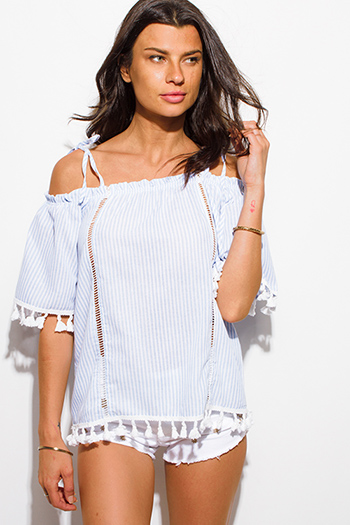 $15 - Cute cheap multi color knit off shoulder fringe trim boho sweater tunic top - light blue striped cotton cold shoulder half sleeve tassel fringe boho peasant top
