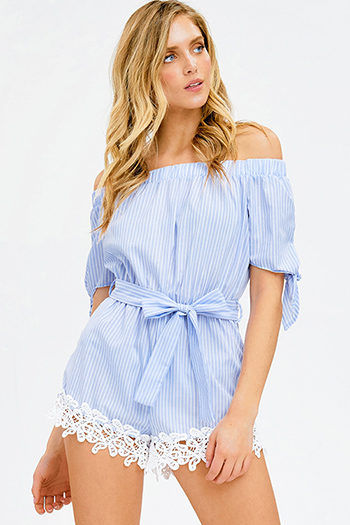 $15 - Cute cheap blue washed denim mid rise distressed destroyed tiered frayed hem ankle fit skinny jeans - light blue striped off shoulder tie sleeve crochet lace hem boho romper playsuit jumpsuit