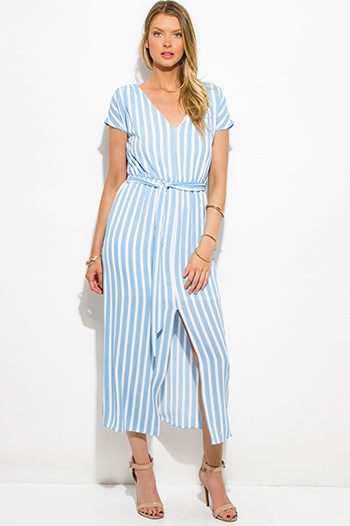 $20 - Cute cheap crepe slit sun dress - light blue stripe short sleeve front slit waist tie boho ankle maxi dress
