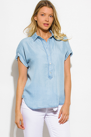 $15 - Cute cheap black sheer mesh metallic graphic screen print short sleeve beach cover up tunic top - light blue tencel chambray cuffed short sleeve button up blouse top