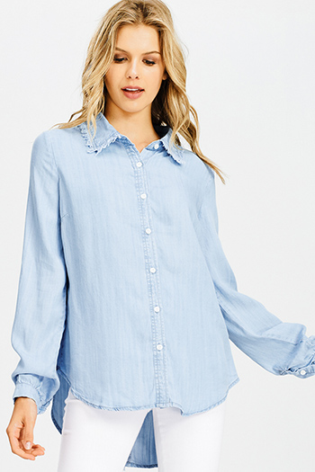 $20 - Cute cheap navy blue washed denim distressed ripped frayed low rise fitted skinny jeans - light blue tencel chambray frayed long sleeve button up blouse top