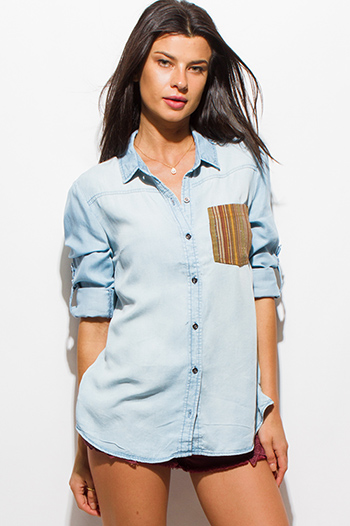 $15 - Cute cheap dark blue denim ripped distressed mid rise fitted skinny jeans - light blue tencel chambray patch pocket quarter sleeve denim button up blouse top