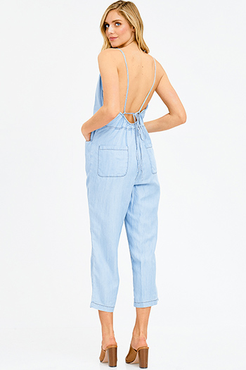$20 - Cute cheap light blue tencel chambray patch pocket quarter sleeve button up blouse top - light blue tencel cut out backless pocketed wide leg cropped boho denim jumpsuit