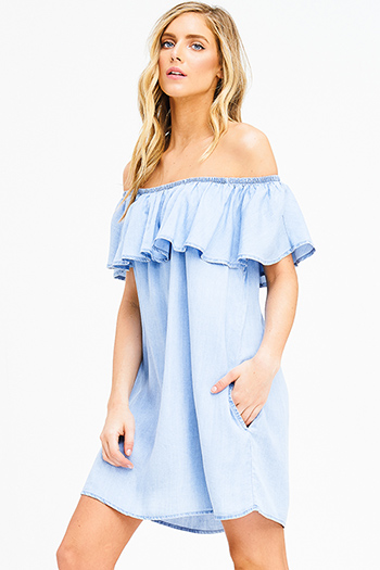 $15 - Cute cheap blue washed denim mid rise distressed frayed ripped skinny fit jeans - light blue tencel ruffle tiered off shoulder pocketed chambray boho mini sun dress