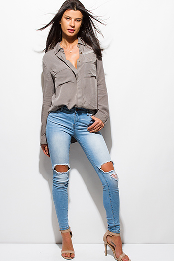 $20 - Cute cheap dark blue denim ripped distressed mid rise fitted skinny jeans - light blue wahsed ripped distressed frayed cut out mid rise skinny fit jeans