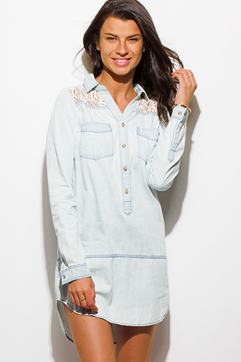 $15 - Cute cheap dark denim blue chambray v neck short sleeve laceup pocketed boho shift mini shirt dress - light blue washed chambray sheer lace panel button up blouse tunic denim mini shirt dress