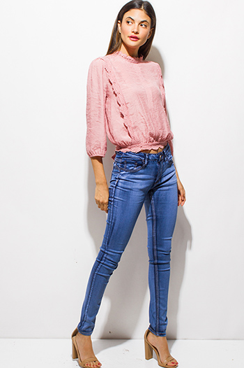 $25 - Cute cheap blue washed denim button up high waisted retro mini skirt - light blue washed cotton mid rise stretchy ultra push up skinny jeans jeggings