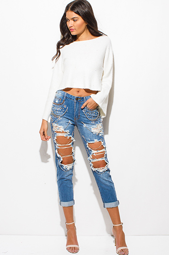 $25 - Cute cheap one shoulder boho top - light blue washed denim distressed destroyed rhinestone embellished bejeweled boho boyfriend jeans