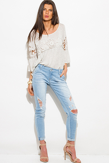 $25 - Cute cheap sky blue one shoulder fitted sexy party crop top - light blue washed denim distressed mid rise fitted ripped skinny jeans