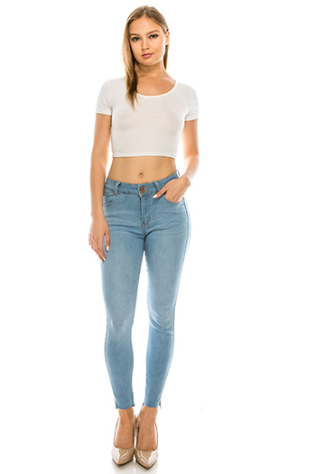 $25 - Cute cheap black denim mid risedistressed ripped knees lace hem boho fitted skinny jeans - Light blue washed denim double buttoned mid rise cut step hem fitted skinny jeans