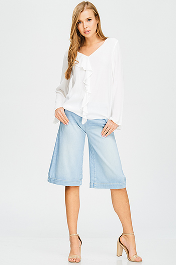 $15 - Cute cheap blue pinstripe rose patch ruffle tiered strapless boho tunic top - light blue washed denim high waisted wide leg cropped boho culotte jeans