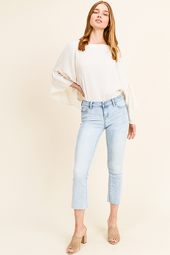 $18 - Cute cheap light blue washed denim high waisted wide leg crop boho culotte jeans - Light blue washed denim mid rise cutoff raw hem boho cropped boot cut jeans