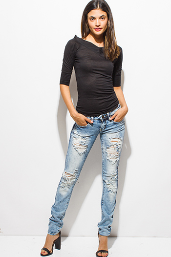 $20 - Cute cheap blue denim fitted jeans - light blue washed denim mid rise distressed destroyed fitted skinny jeans