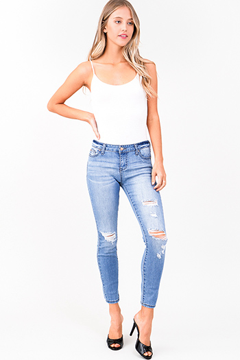 $20 - Cute cheap blue washed denim sleeveless button up tie front boho crop blouse top - light blue washed denim mid rise distressed ripped fitted skinny jeans